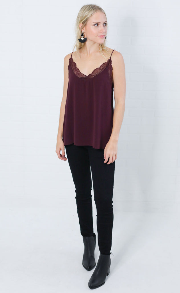 easy peasy lace top - wine