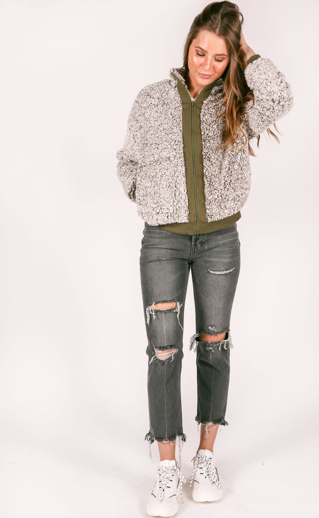 easy way out fur jacket - olive