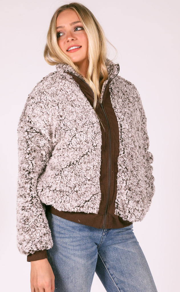 easy way out fur jacket - mocha