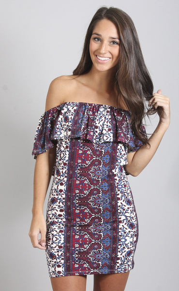 edge of desire off shoulder dress