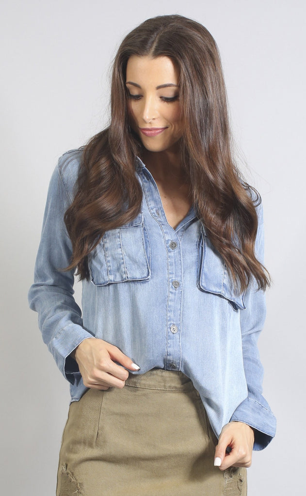 edge of town chambray button up top
