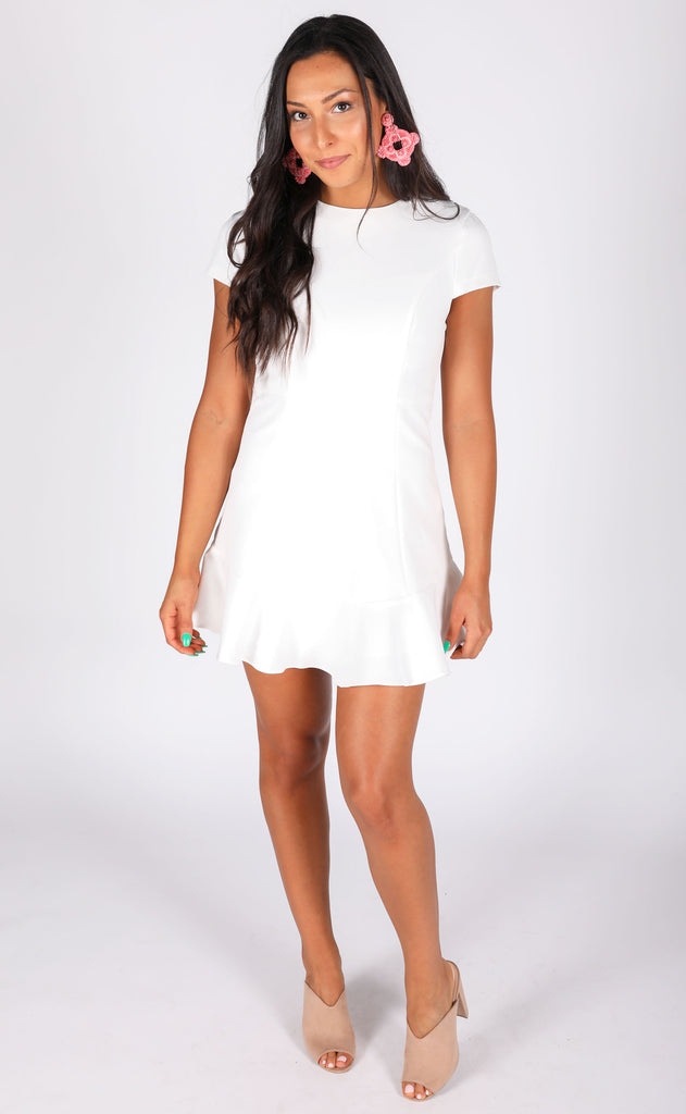 elegant evening ruffle dress - ivory