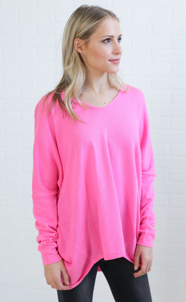 encore basic sweater - neon pink