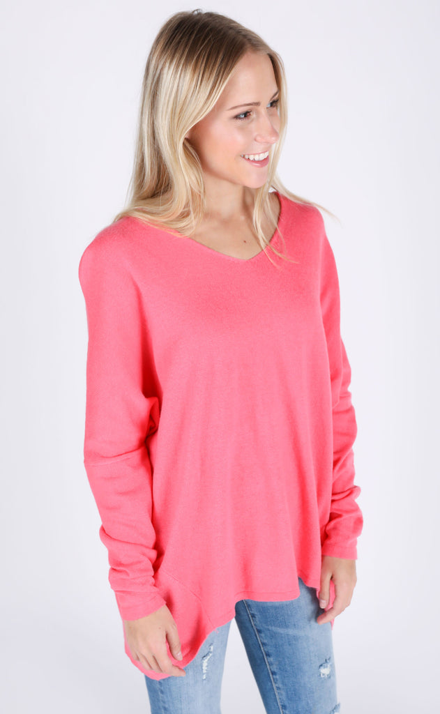 encore basic sweater - hot pink