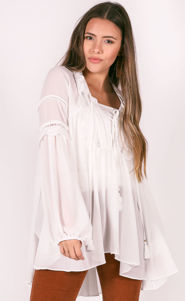 endless love crochet tunic - white