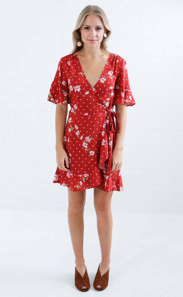 show me your mumu: evelyn mini wrap dress - dotcha love me drape