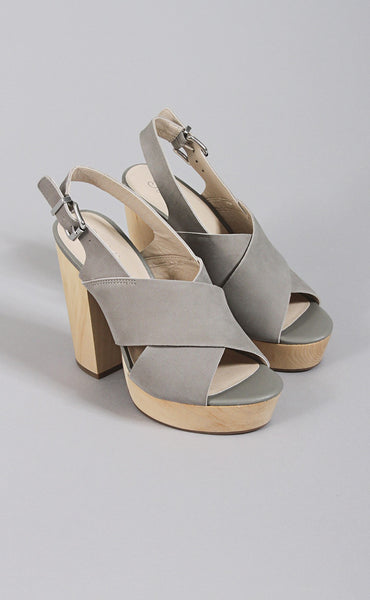expedite platform heels - light grey
