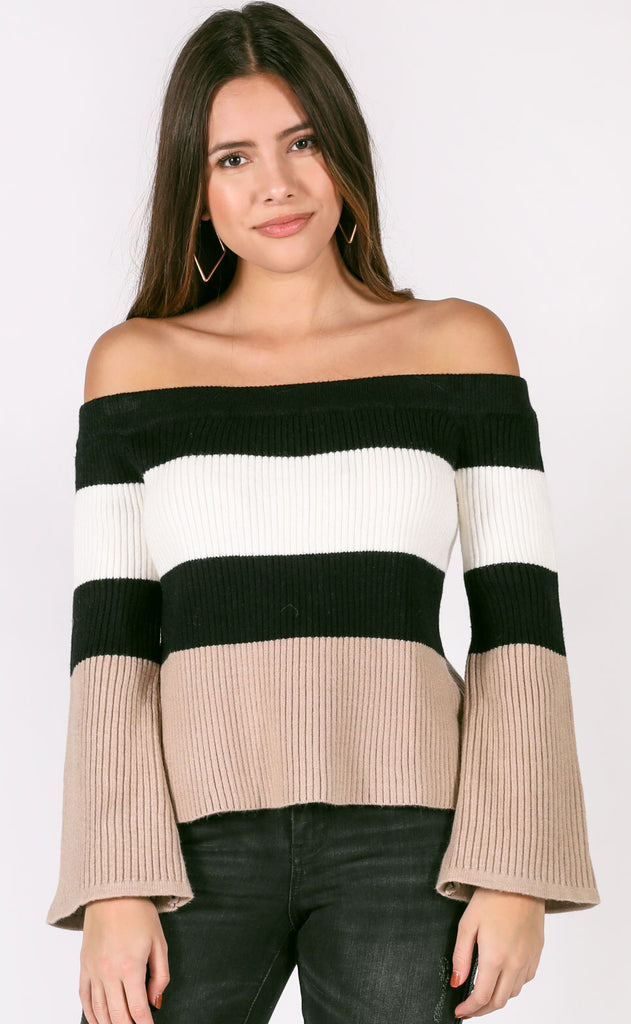 eyes on me off the shoulder sweater