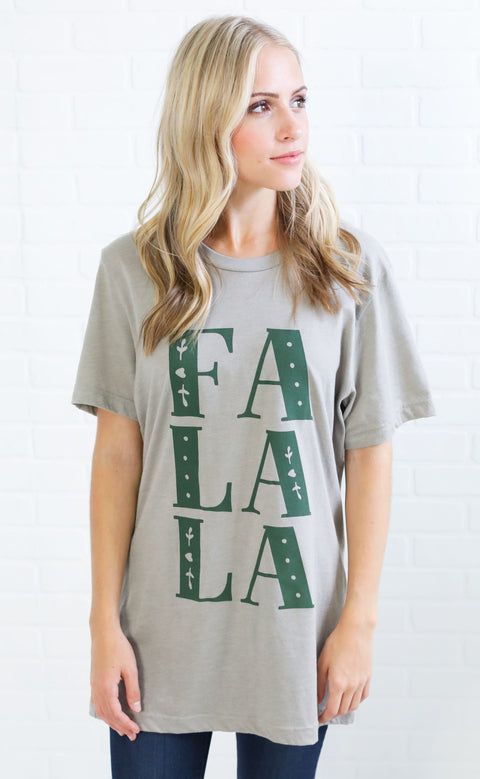 friday + saturday: fa la la t shirt (pre-order)
