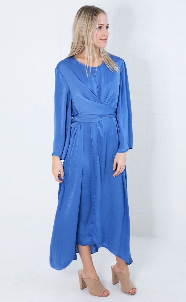 fall for it wrap dress - blue