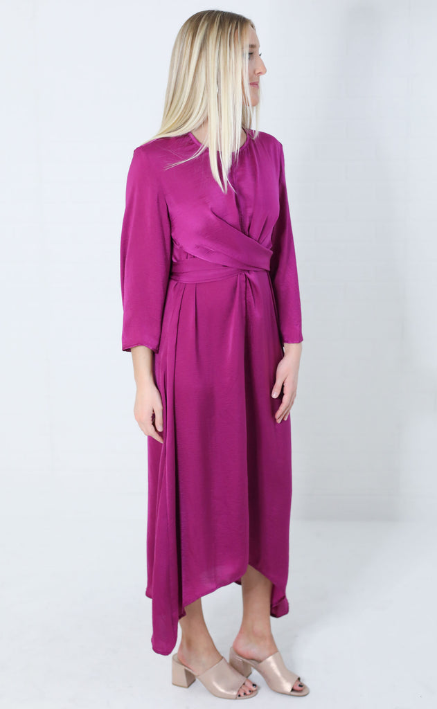 fall for it wrap dress - magenta