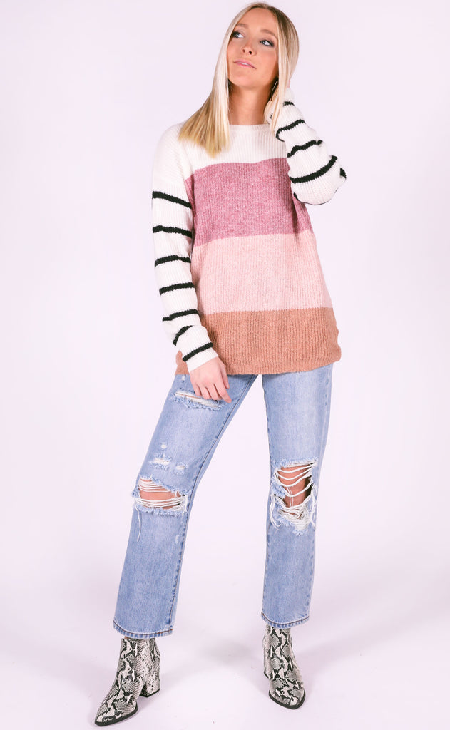 fall in line striped sweater