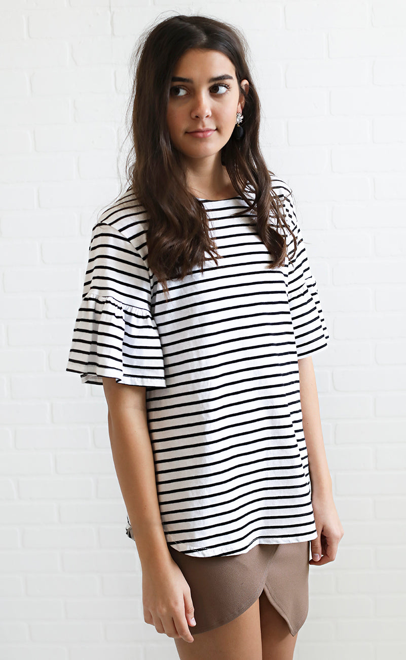 fall in line striped top - ivory