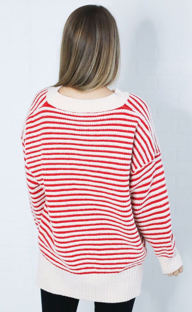 falling for stripes knit sweater - red