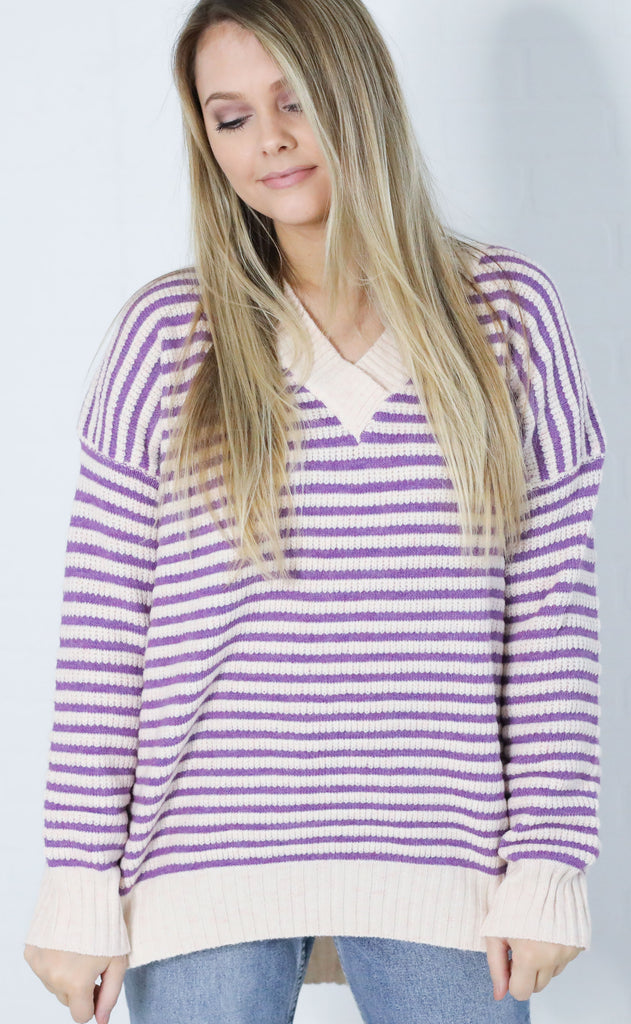 falling for stripes knit sweater - violet
