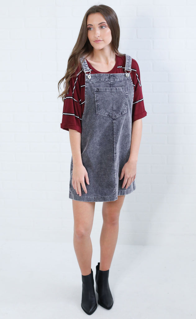 falling for you corduroy overall dress - charcoal