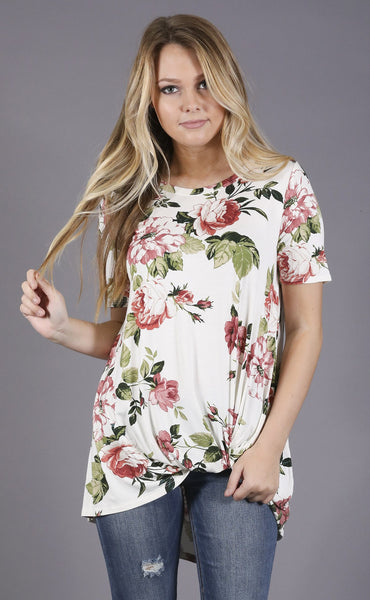 fantastic florals printed top - ivory
