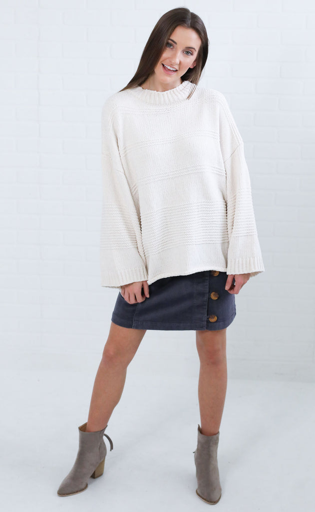 far out knit sweater - ivory