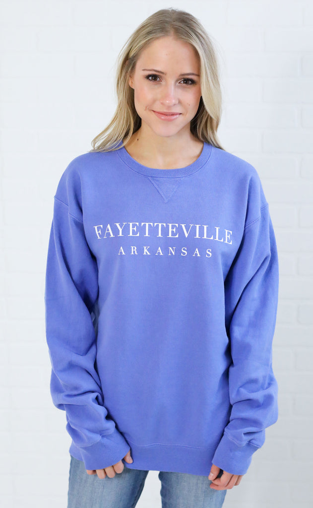 charlie southern: simply local fayetteville sweatshirt - orchid