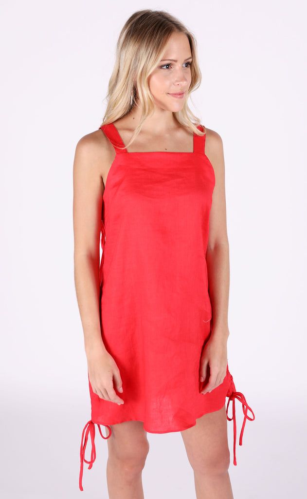feel the heat linen dress - red