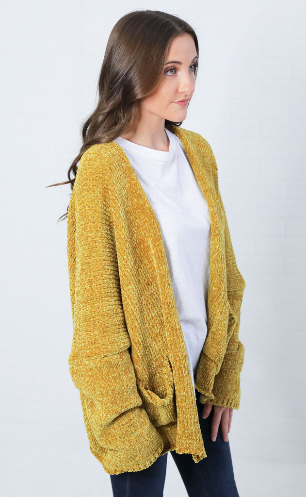 feelin' just fine chenille cardigan