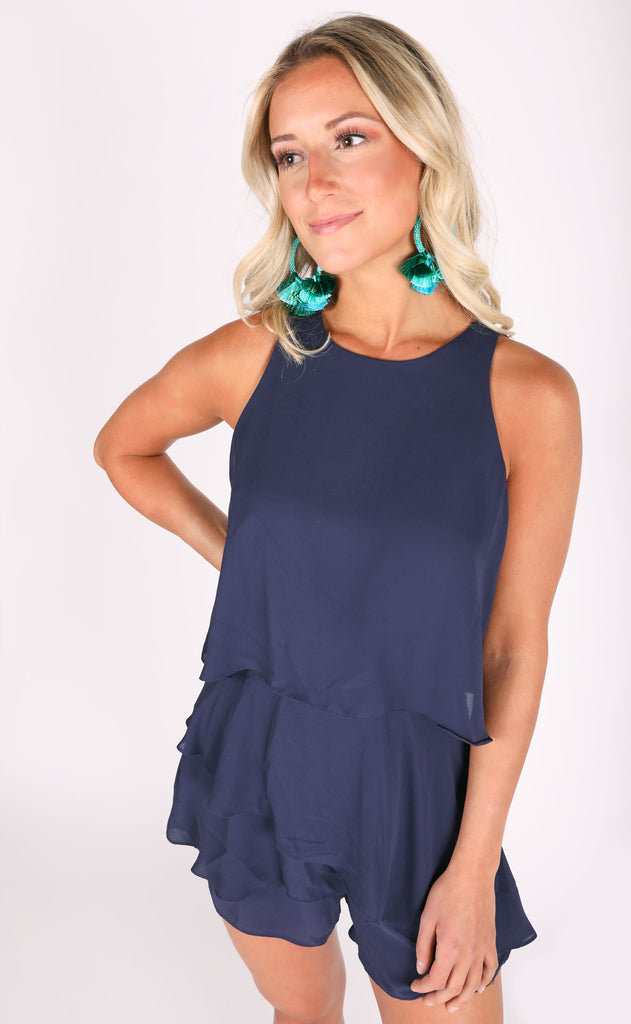 feeling blue layered romper