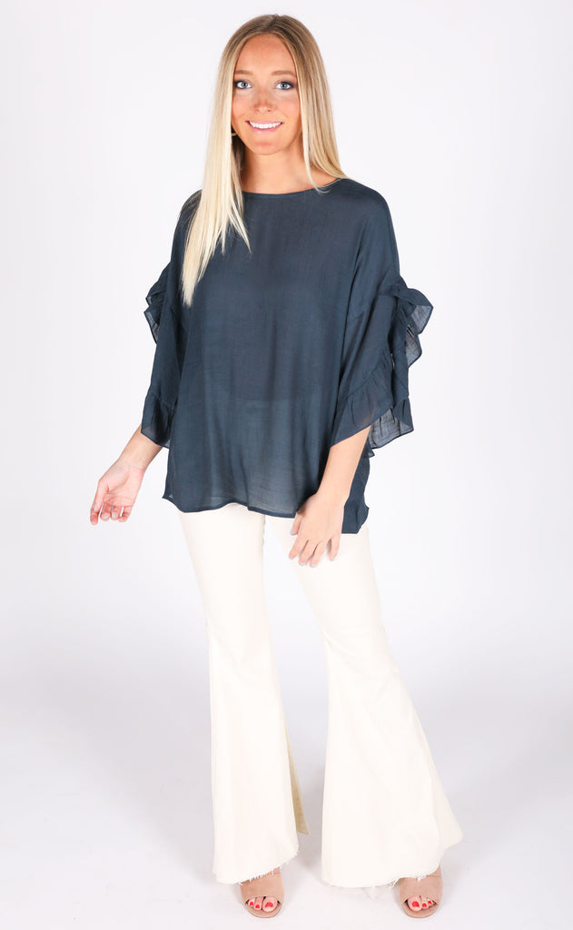 feeling official ruffle blouse - navy