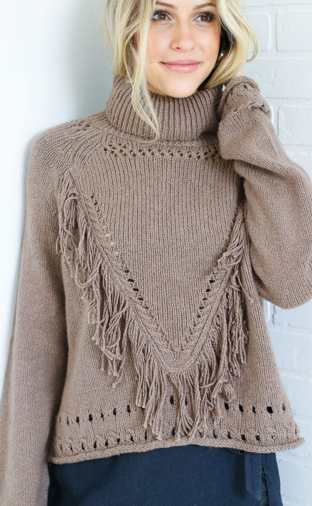 show me your mumu: felicia fringe sweater - almond knit
