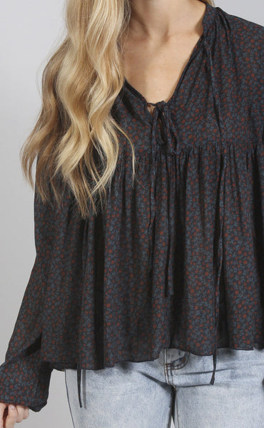 festival dreams floral blouse - navy