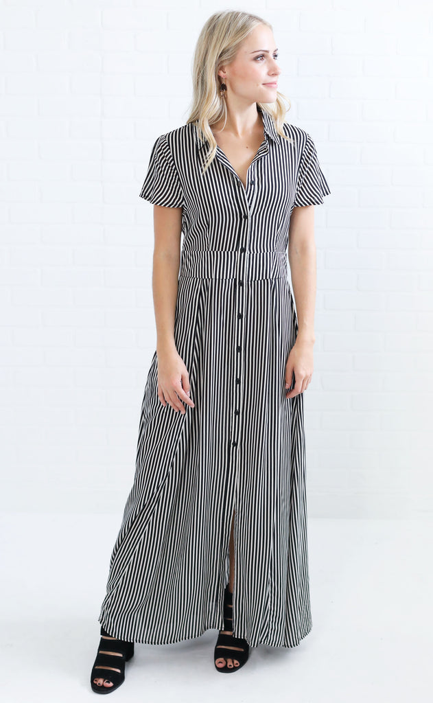 final stripe maxi dress - black