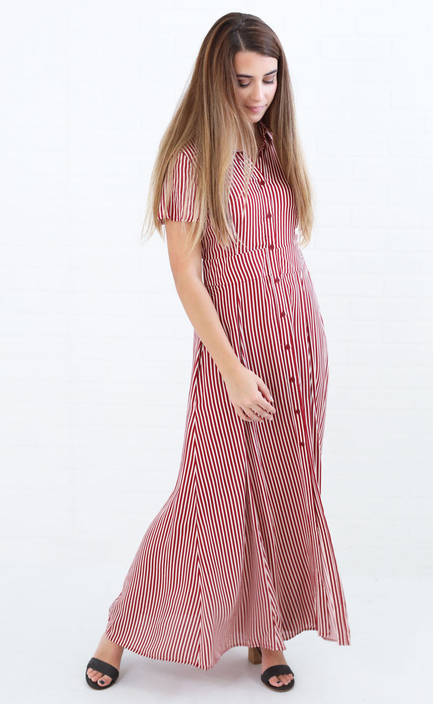 final stripe maxi dress - red