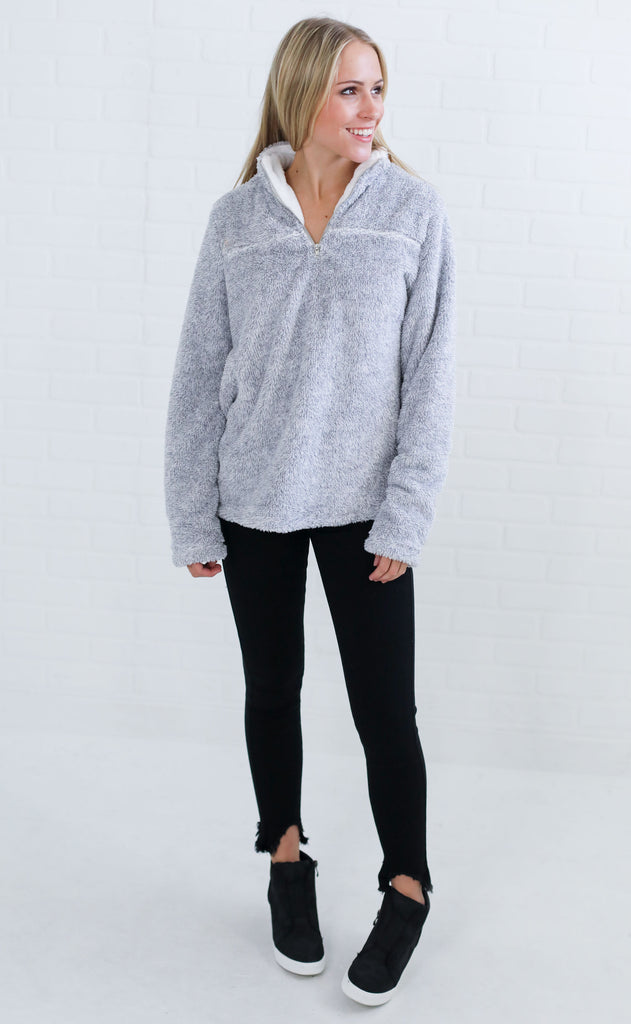 fine in fleece pullover sweater