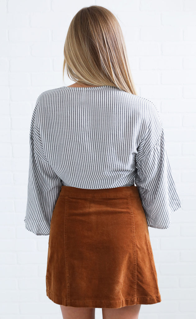 a fine line striped top