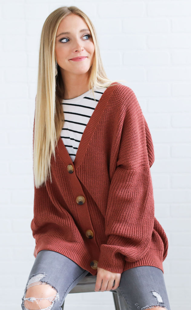 fireside feels knit cardigan - brick