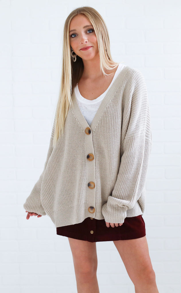 fireside feels knit cardigan - warm grey