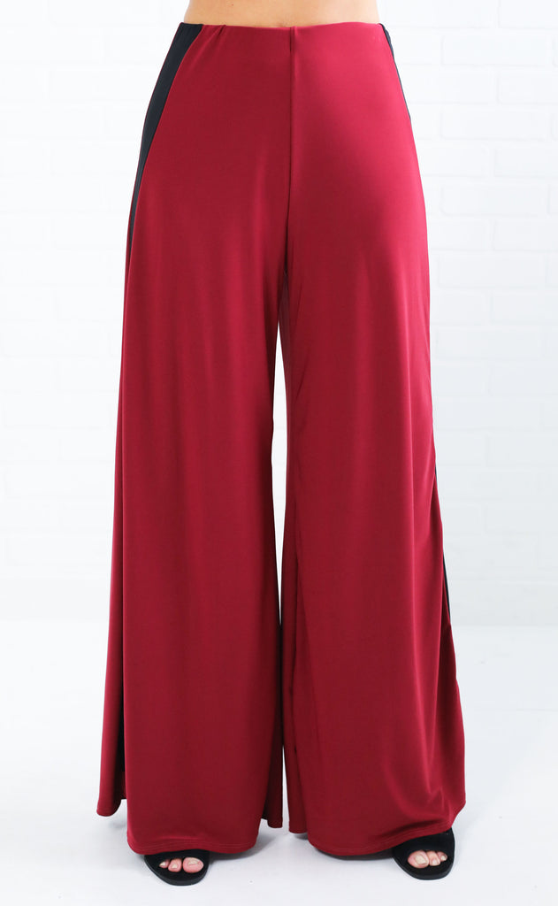 flare to the throne striped pants - burgundy