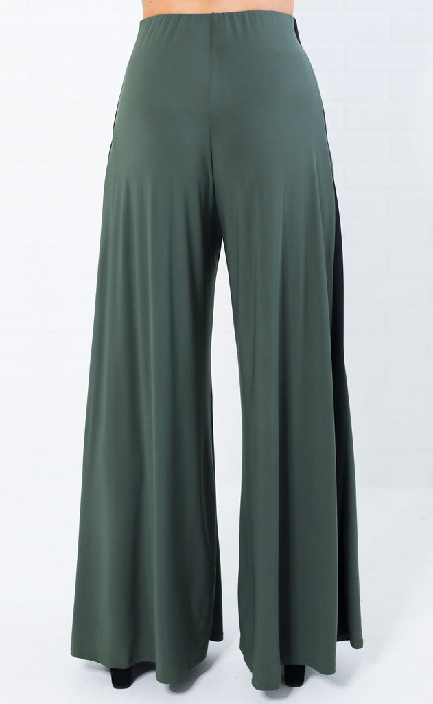 flare to the throne striped pants - olive