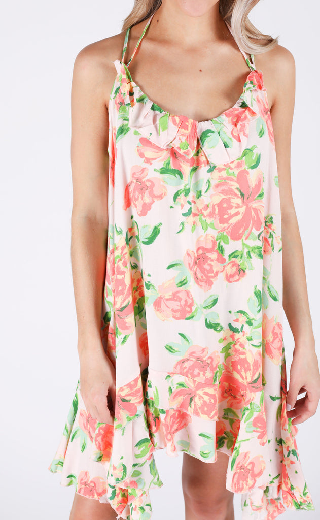 flirty in floral ruffle dress