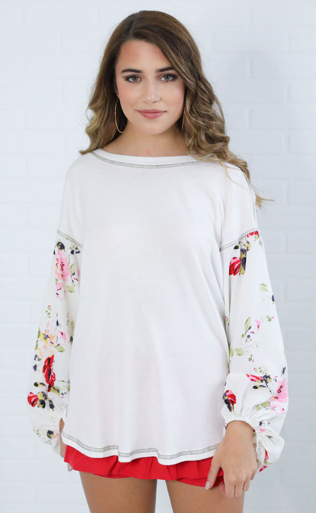 floral frenzy printed top - ivory