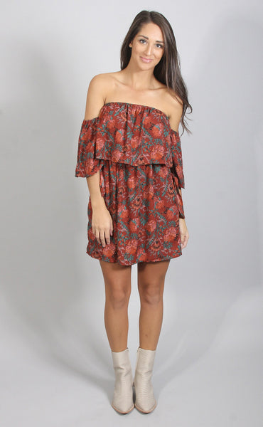 floral affairs off shoulder dress - rust