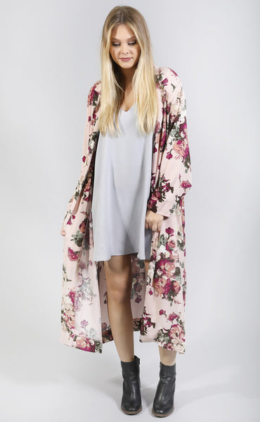 vintage blooms floral duster - blush