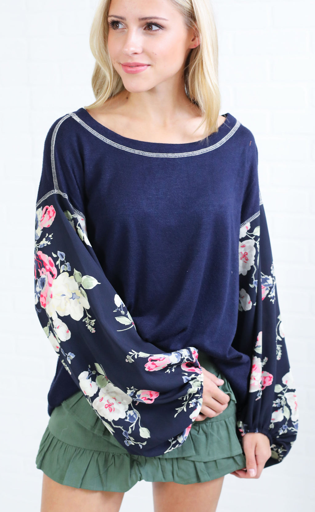 floral frenzy printed top - navy
