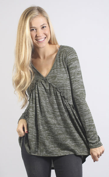 flow with it long sleeve top - olive