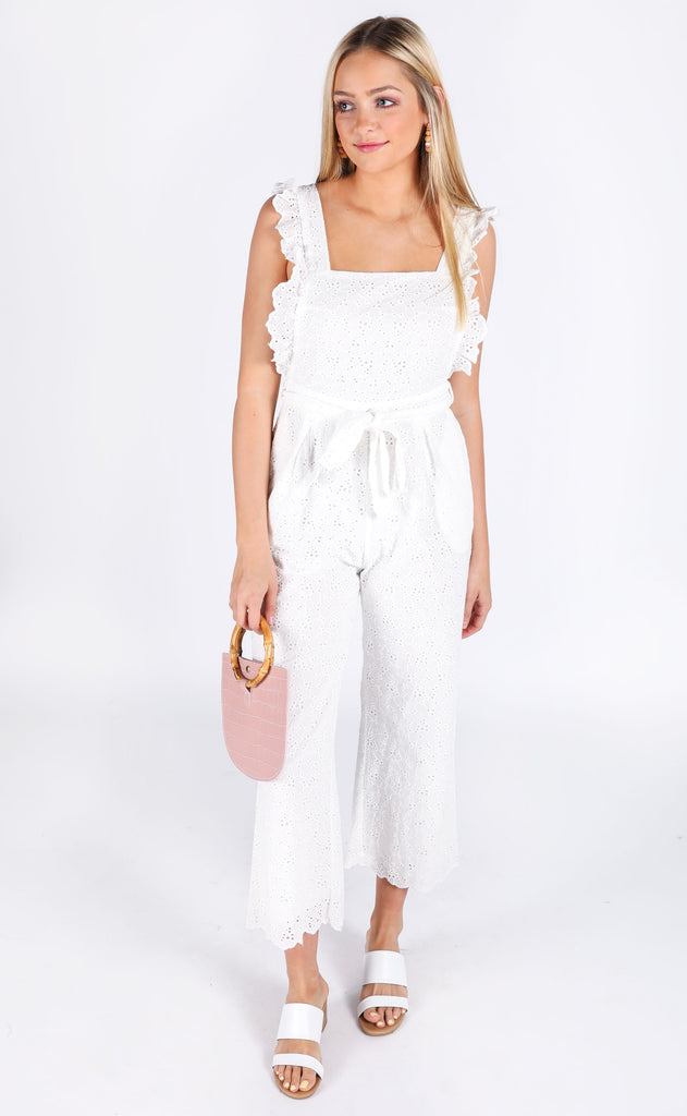 flower fields eyelet jumpsuit