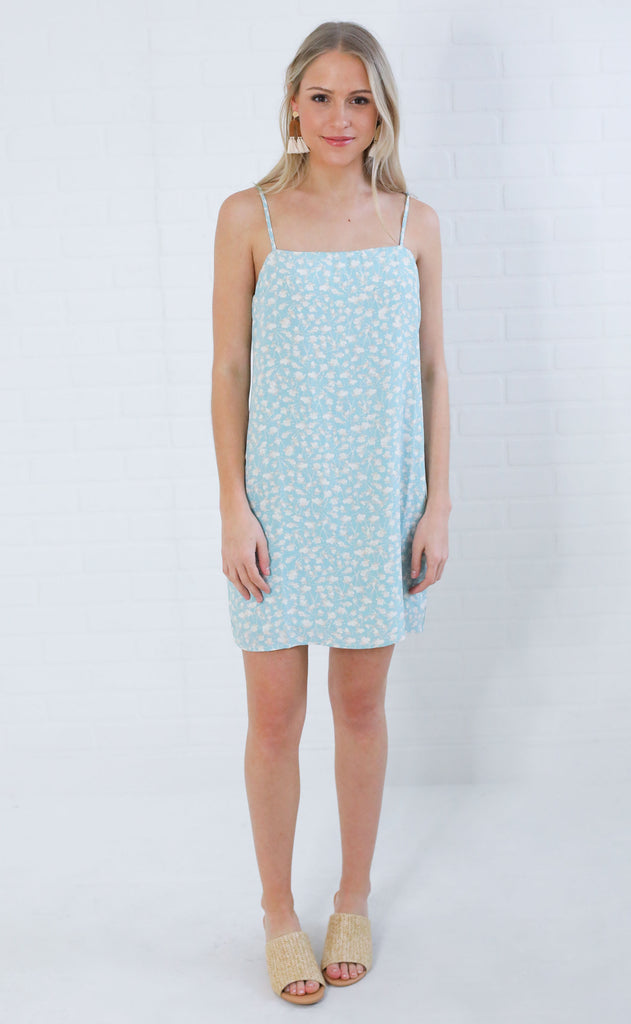 flower fiesta printed dress - blue