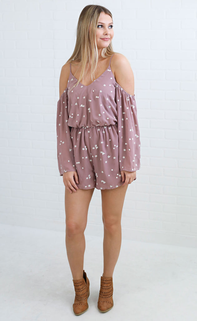 flower power embroidered romper