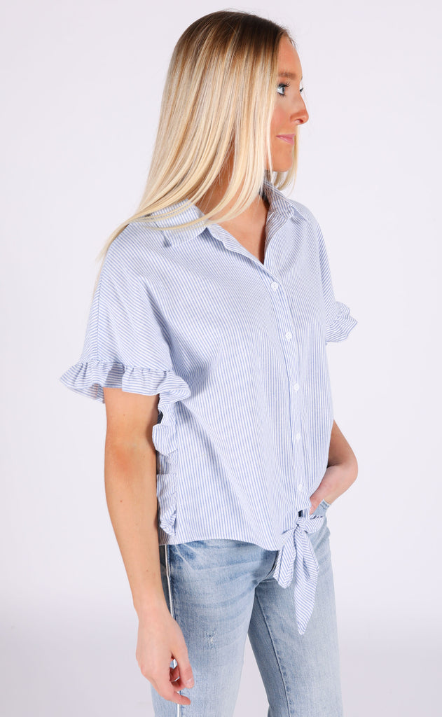 for the frill of it striped top