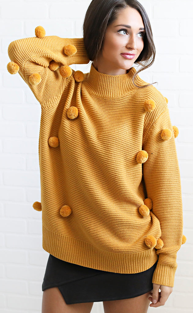 for the record pom pom sweater - mustard