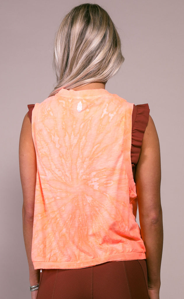 free people movement: love tank - peach horizon tie dye
