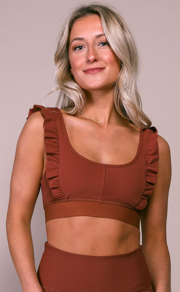 free people movement: ruffle me up bra - crimson